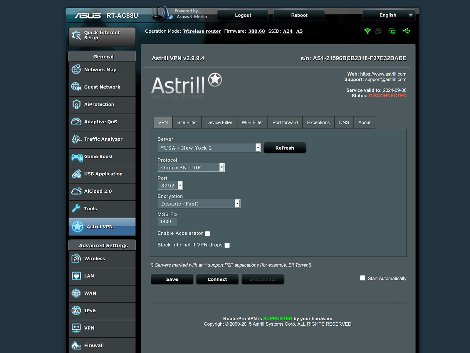 Self made VPN router | Astrill VPN